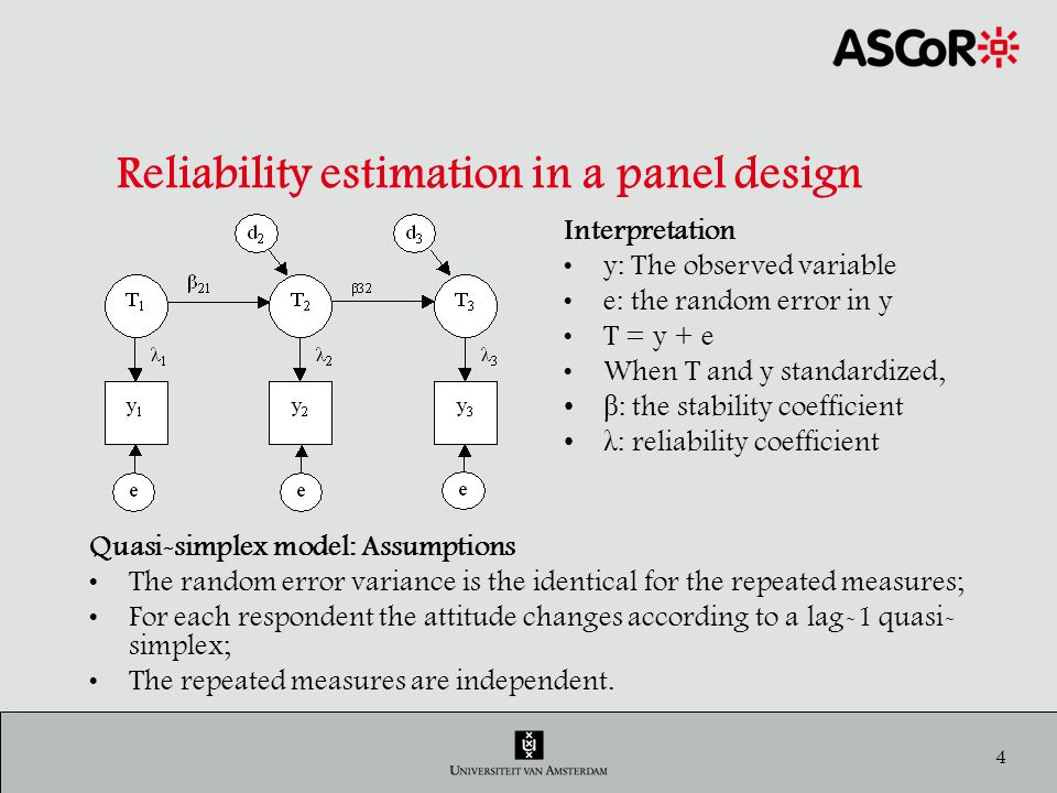 5 Reliability estimation in a panel design Estimation of Reliability & Stability RUSSET Data: 3 waves, 3 times the question: How satisfied are you with your current life….