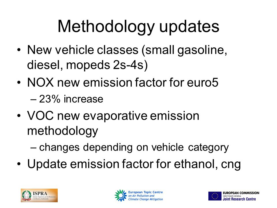 Methodology improvements TFEIP-EP could produces relevant documentation instrumental for parties to justify the adjustment (e.g.