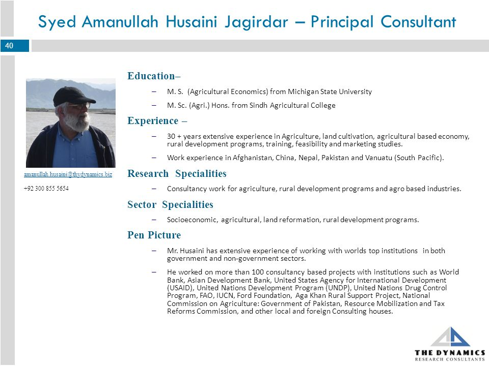 Education– – MBA from PAF-KIET Karachi – Diploma in Marketing Research from The University of Georgia (Principle of Marketing Research) Experience – – Total experience 12+ years in MR industry Research Specialities – Conjoint, Diversified MR Techniques, Ad testing, Usage and Attitude, New Product Development, Pricing Studies.
