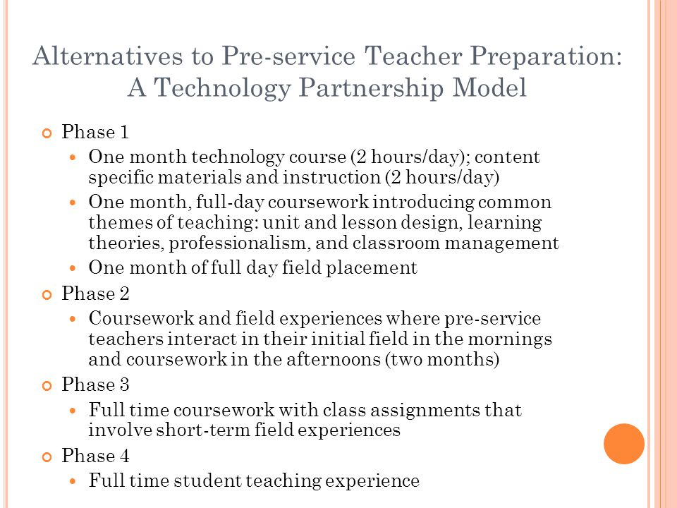 Phase 3: The Technology Partnership Partners Two pre-service teachers in similar subject/grade levels Practicing teacher in the subject/grade level Challenge Design and teach lessons for the subject/grade level that integrates appropriate technology in the lessons Partner roles in the design of lessons Pre-service teachers Provide insight into the ways that the technology might be used to enhance the instruction of the planned curriculum Practicing teacher Provide information about the curriculum and the classroom context Design-based, iterative lesson development/teaching/reflection Pre-service teachers take turns teaching lessons, observing and critiquing lessons Reflection where all three partners take active roles leading to redesign of future lessons.