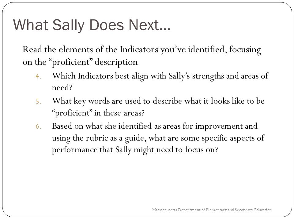 Sallys Form A (Part 2) Individual Strengths: Former student MCAS data (achievement and growth) and benchmark data shows that I am successful at improving student performance in both Math and ELA for students who enter my class performing below grade level.