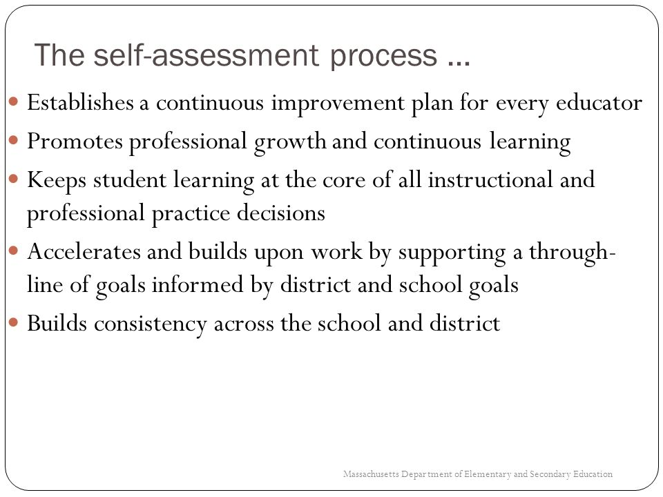 Step 1: Self-Assessment Components According to the regulations Self-assessment must include: 1.