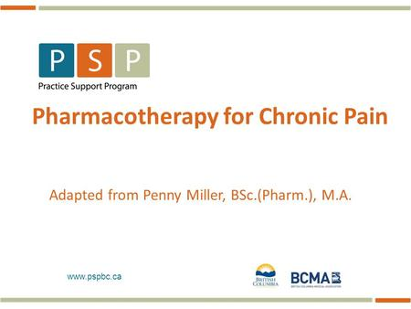 Pharmacotherapy for Chronic Pain