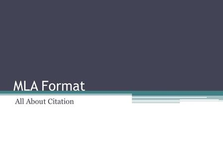 MLA Format All About Citation.