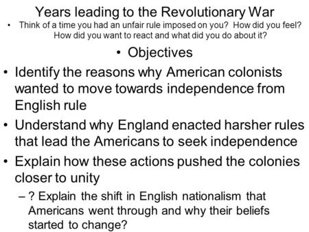 the causes leading to the conflict between britain and the american colonists The causes for the rivalry between france and britain are the disputes that developed over land in the colonies, control of the fur trade in the colonies and over the.