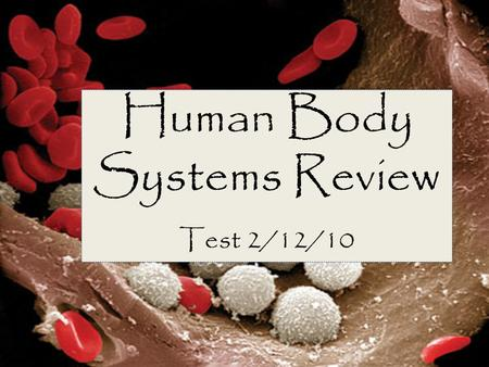 Human Body Systems Review Test 2/12/10. Structures of the Body Cell- basic building blocks of life; smallest part of your body Tissue- group of the same.