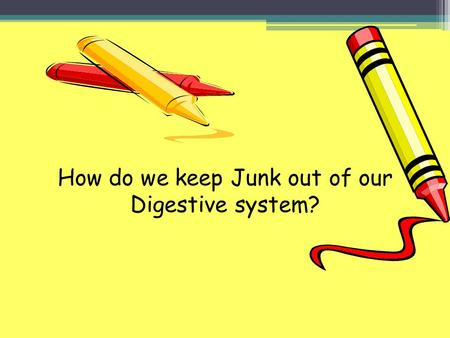 How do we keep Junk out of our Digestive system?