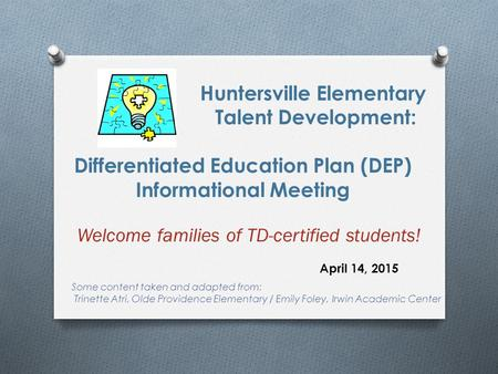 Welcome families of TD-certified students!