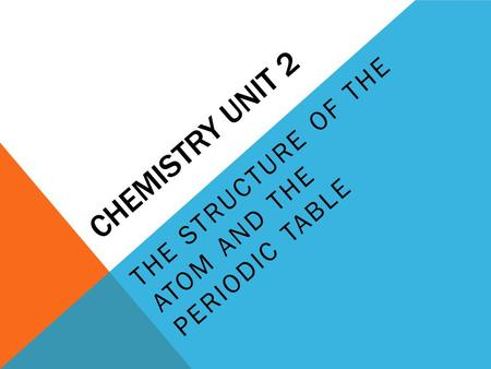 CHEMISTRY UNIT 2 THE STRUCTURE OF THE ATOM AND THE PERIODIC TABLE.