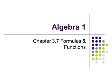 Chapter 3.7 Formulas & Functions
