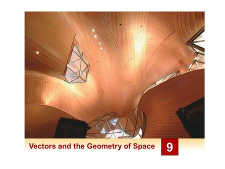 Vectors and the Geometry of Space 9. 2 Announcement Wednesday September 24, 201434 Test Chapter 9 (mostly 9.5-9.7)
