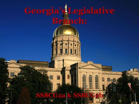 Georgia's Legislative Branch: SS8CG2a & SS8CG2b. Georgia's Legislative Branch: Main Idea: Members of the General Assembly Notes: The General Assembly.