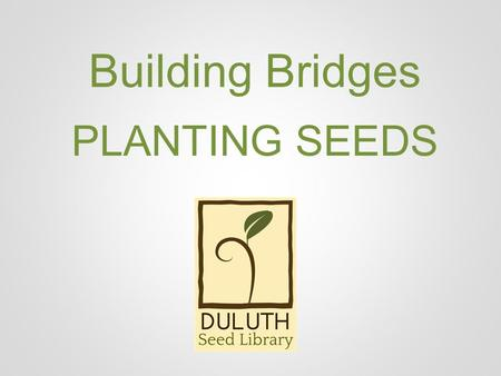 Building Bridges PLANTING SEEDS. BUILDING BRIDGES.