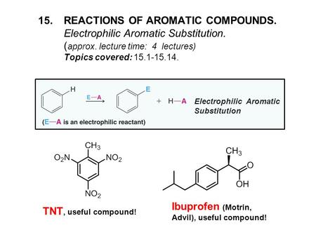 15.REACTIONS OF AROMATIC COMPOUNDS. Electrophilic Aromatic Substitution. ( approx. lecture time: 4 lectures) Topics covered: 15.1-15.14. TNT, useful compound!