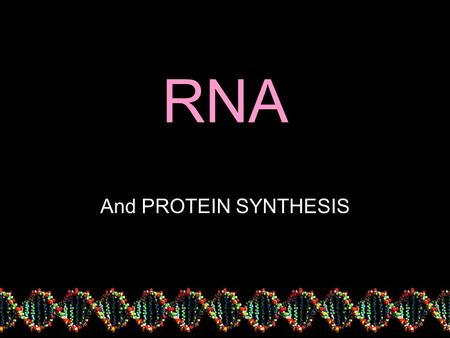 RNA And PROTEIN SYNTHESIS. What DNA is for…… Making Proteins Why is this important?