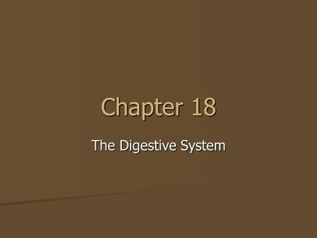 Chapter 18 The Digestive System.
