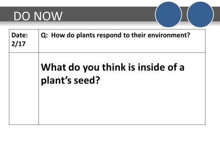 DO NOW Date: 2/17 Q: How do plants respond to their environment? What do you think is inside of a plant's seed?