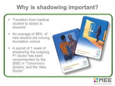 Why is shadowing important?  Transition from medical student to doctor is stressful  An average of 35% of new doctors are moving foundation school 