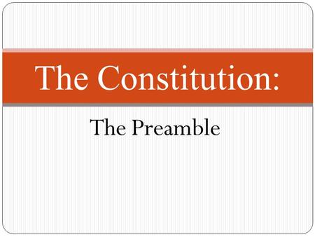 The Preamble The Constitution:. History of the Constitution On May 14, 1787 in Philadelphia, the Federal Convention came together to revise the Articles.