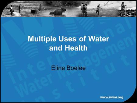Eline Boelee Multiple Uses of Water and Health. Relevant health issues Water quality Water availability: quantity & accessibility Hygiene behavior Vector-borne.