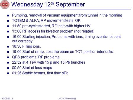 Wednesday 12 th September Pumping, removal of vacuum equipment from tunnel in the morning TOTEM & ALFA, RP movement tests: OK 11:50 pre-cycle started,
