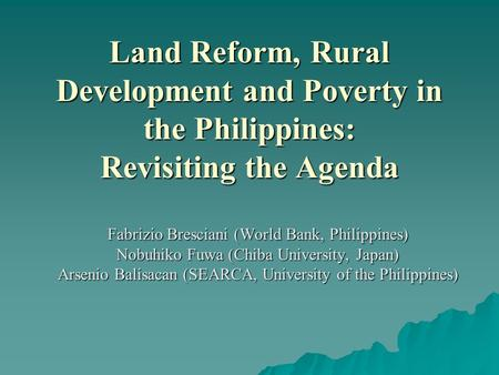 Fabrizio Bresciani (World Bank, Philippines)