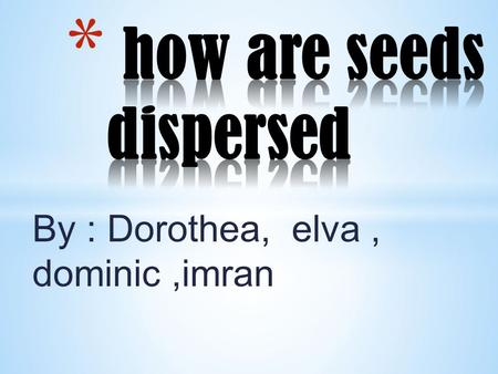 By : Dorothea, elva, dominic,imran If seeds are not dispersed, all the young plants would grow around the parent plant and overcrowding will take place.