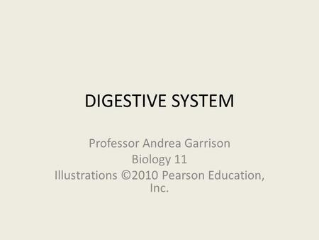 DIGESTIVE SYSTEM Professor Andrea Garrison Biology 11 Illustrations ©2010 Pearson Education, Inc.