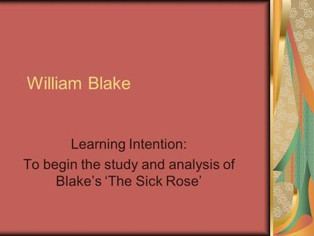 an overview of the english romanticism era and the poem a poison tree by william blake Many of the writers of the romantic period were highly influenced by the william blake's poem 'london' is a devastating free english lessons.