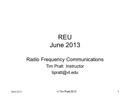 Radio Frequency Communications