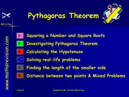 MTH 4-16a 1-Aug-15Compiled by Mr. Lafferty Maths Dept. Pythagoras Theorem www.mathsrevision.com Squaring a Number and Square Roots Investigating Pythagoras.
