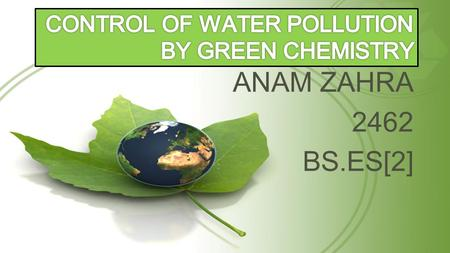 ANAM ZAHRA 2462 BS.ES[2]. WATER POLLUTION SOURCES OF WATER POLLUTION.