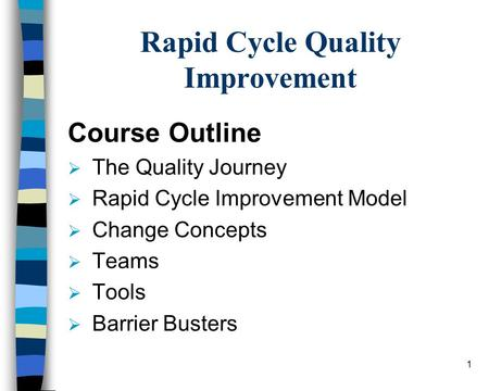 1 Rapid Cycle Quality Improvement Course Outline  The Quality Journey  Rapid Cycle Improvement Model  Change Concepts  Teams  Tools  Barrier Busters.