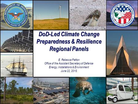 DoD-Led Climate Change Preparedness & Resilience Regional Panels DoD-Led Climate Change Preparedness & Resilience Regional Panels E. Rebecca Patton Office.