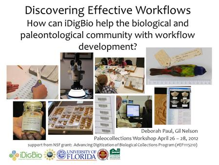 Discovering Effective Workflows How can iDigBio help the biological and paleontological community with workflow development? support from NSF grant: Advancing.