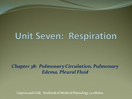 Chapter 38: Pulmonary Circulation, Pulmonary Edema, Pleural Fluid Guyton and Hall, Textbook of Medical Physiology, 12 edition.