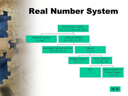 Real Number System. The Set of Numbers Natural Numbers –The set of natural numbers contains {1, 2, 3,…} Whole Numbers –The set of whole numbers contains.