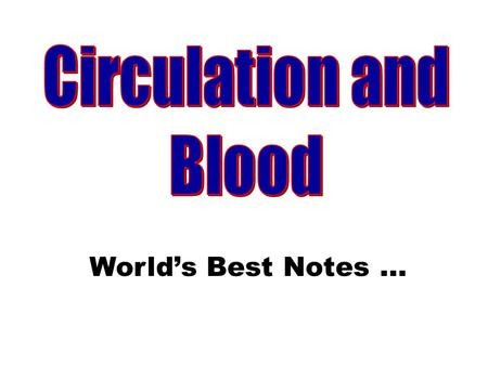 Circulation and Blood World's Best Notes ....