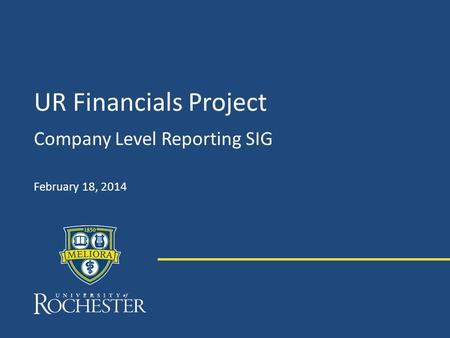 UR Financials Project Company Level Reporting SIG February 18, 2014.