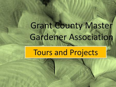 Grant County Master Gardener Association Tours and Projects.