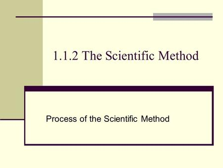 Process of the Scientific Method