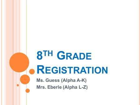 8 TH G RADE R EGISTRATION Ms. Guess (Alpha A-K) Mrs. Eberle (Alpha L-Z)