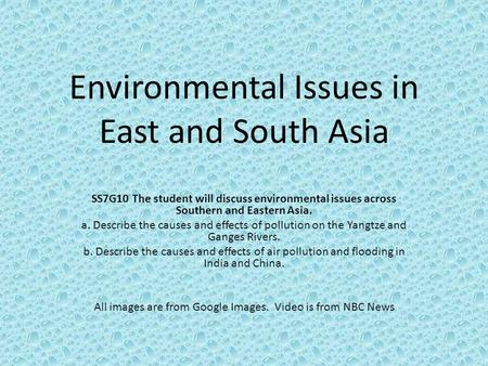 Environmental Issues in East and South Asia