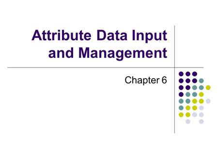 Attribute Data Input and Management