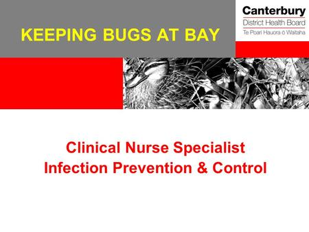 KEEPING BUGS AT BAY Clinical Nurse Specialist Infection Prevention & Control.