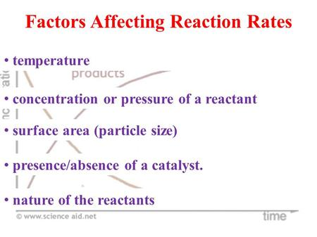 factors affecting the rate of reaction Worksheet: reaction rates name_____ chemistry: a reaction rate refers to how quickly or slowly the _____ disappear and the _____ appear it is measured in terms of the _____ of the reactants 3 if a reaction is to occur what are the five major factors that affect reaction rate 5.