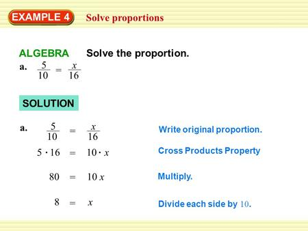 Write a proportion and solve for x