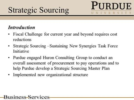 Strategic Sourcing Introduction