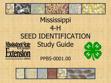 1 Mississippi 4-H SEED IDENTIFICATION Study Guide PPB5-0001.00.