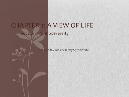 Section 1.3: Biodiversity CHAPTER 1: A VIEW OF LIFE By: Sunday Alok & Jenny Sattiewhite.